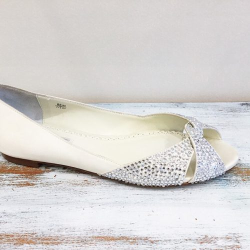 Jeanette Maree stunning leather & silk bridal flat.