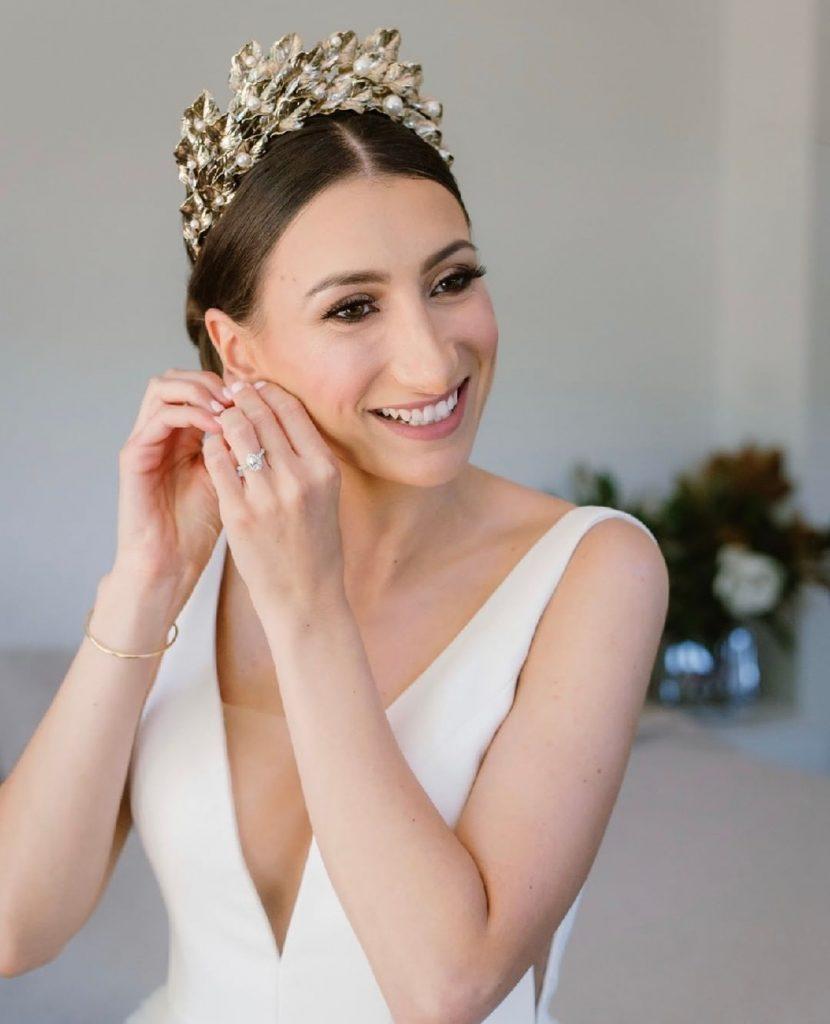 gold bridal headpiece, modern bride, USA
