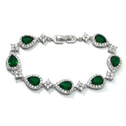 Silver and emerald green cubic ziccon evening bracelet B031
