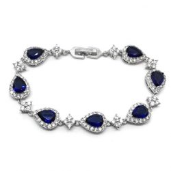 Silver and navy cubic ziccon evening bracelet B031