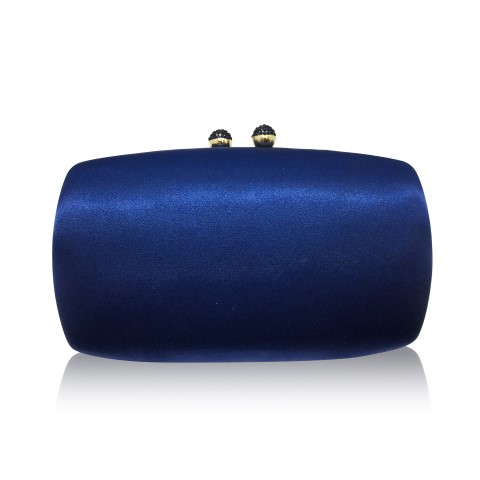 Stylish navy evening clutch with crystal clasp CL0292