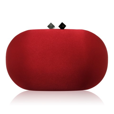 Stylish red evening clutch with modern clasp, holds mobile phone CL0294