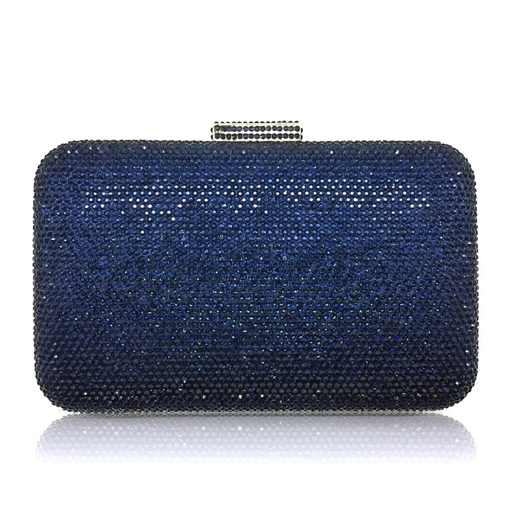 An exquisite crystal navy bridal or evening clutch CL0296N