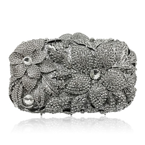 Crystal encrusted bridal clutch in flower pattern. CL341