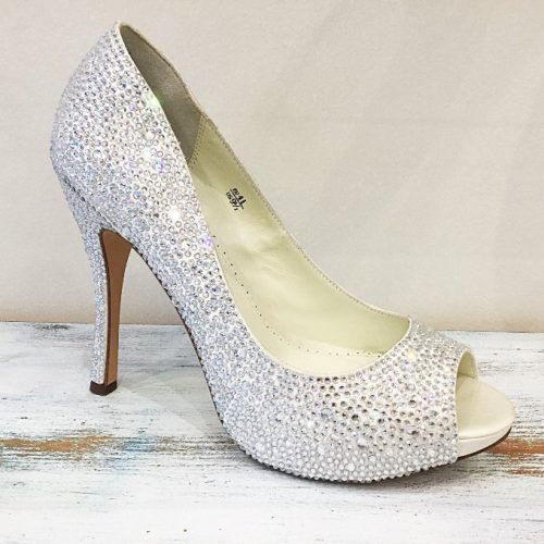 Swarovski adorned silver platform evening shoe