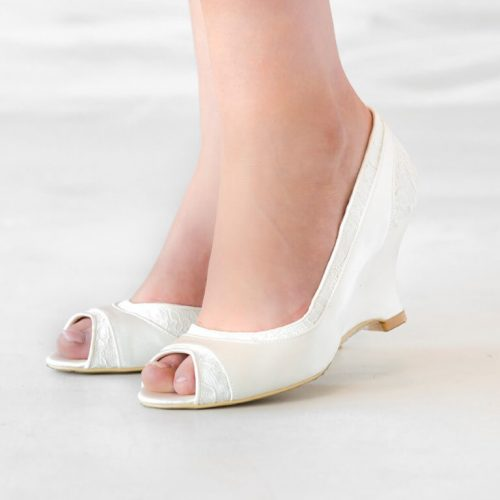 Lace and Silk Satin Ivory Bridal Shoe