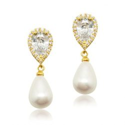 Cubic zircon crystal bridal earring with pearl drop earring E0053