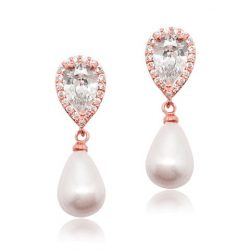 Cubic zircon crystal bridal earring with pearl drop earring E0053_RG
