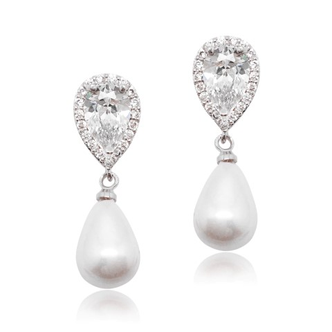 Cubic zircon crystal bridal earring with pearl drop earring E0053_S