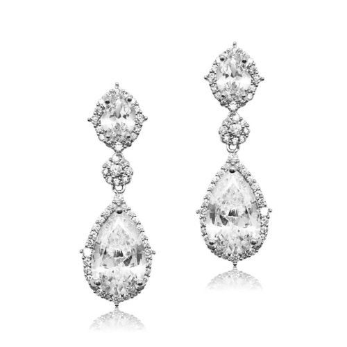 This bridal earring is made of the highest quality crystal, this cubic zircon. It has a oval stud top and beautiful pear shaped drop which is encased with pave set crystals and finished in allergy free RhodiumE0072