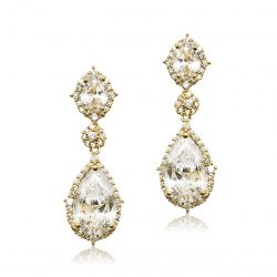This bridal earring is made of the highest quality crystal, this cubic zircon. It has a oval stud top and beautiful pear shaped drop which is encased with pave set crystals and finished in 22ct gold. E0072G