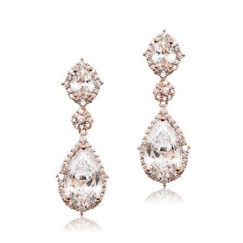 E0072RG Cubic crystal bridal earring from Jeanette Maree Melbourne