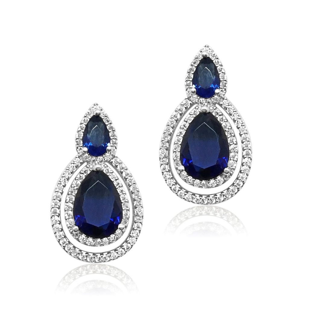 Navy crystal brides earring E0075