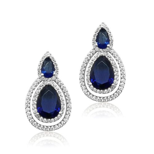 This bridal earring is made of the highest quality crystal, cubic zircon. It has a pear stud top and beautiful pear shaped drop which navy in the centre and encased with pave set crystals and finished in allergy free Rhodium E0075