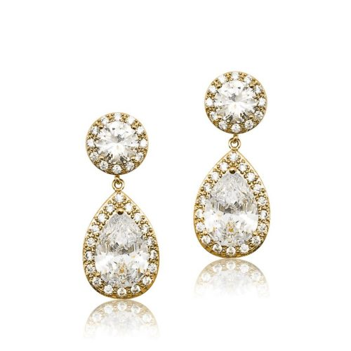 Gold crystal brides maid earring E0140G