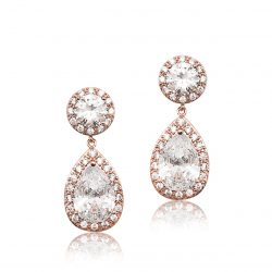 This bridal earring is made of the highest quality crystal, this cubic zircon. It has a oval stud top and beautiful pear shaped drop which is encased with pave set crystals and finished in allergy free Rose Gold E0140RG
