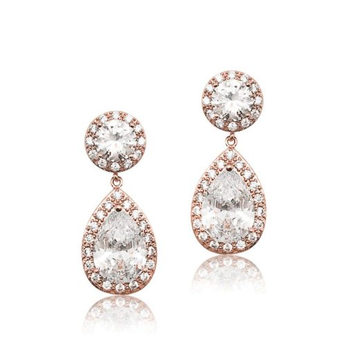 Rose gold crystal brides maid earringE0140RG