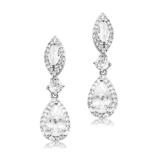 This bridal earring is made of the highest quality crystal, this cubic zircon. It has a oval stud top and beautiful pear shaped drop which is encased with pave set crystals and finished in allergy free Rhodium E2048