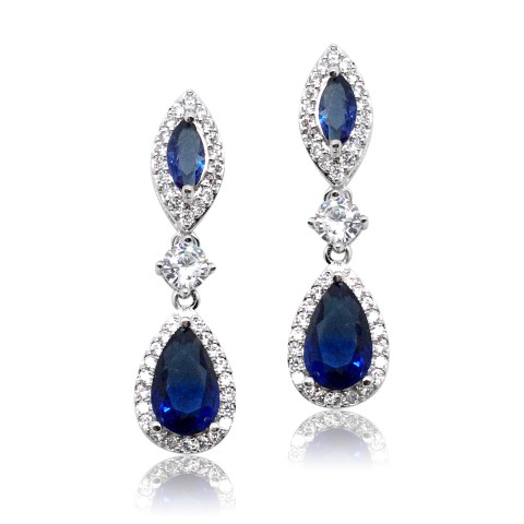 NAVY, SAPHIRE CRYSTAL BRIDES MAID EARRING E2048_