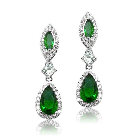 NAVY, SAPHIRE CRYSTAL BRIDES MAID EARRING E2048_green