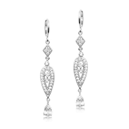 SILVER CRYSTAL BRIDESMAID EARRING E249