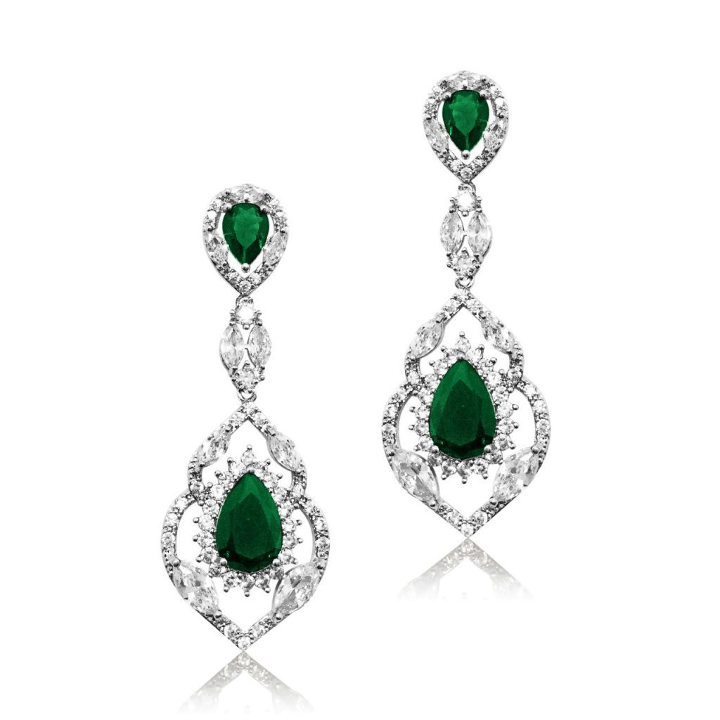 E4748 emerald and crystal statement earring