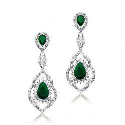 E4748_emerald green crystal earring