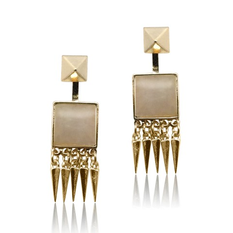 rose quarts gold earring E4931P