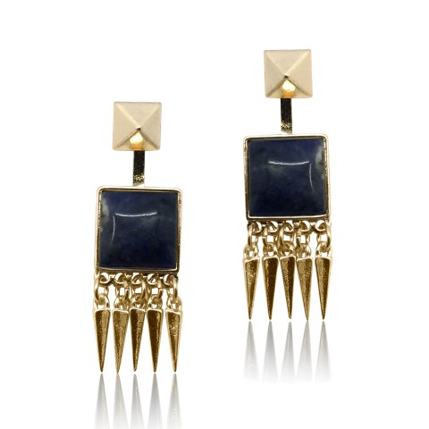 Lapis semiprecious fashion earring set in gold geometric design E4931blue