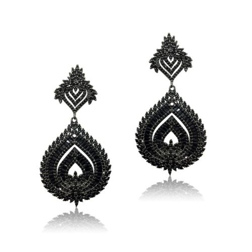 Indian desigh black crystal earring with baguette stones from Jeanette maree melbourne. E700