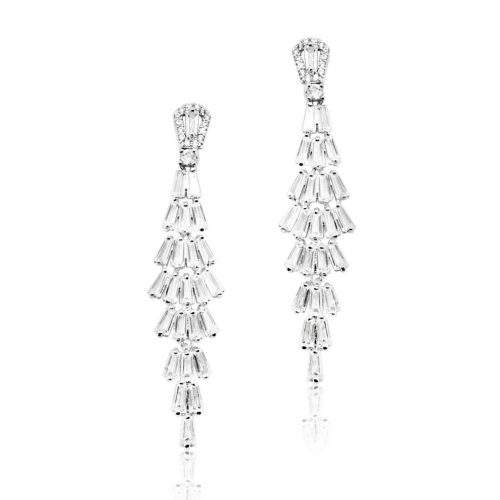 Baguette set crystals to form an art deco bridal earring E7771