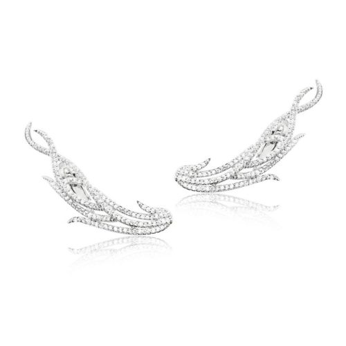 Modern cuff style earring with pavet crystals E967