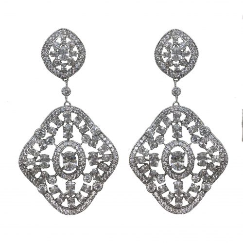 Jeanette Maree stunning fashion drop silver coated earring EF003
