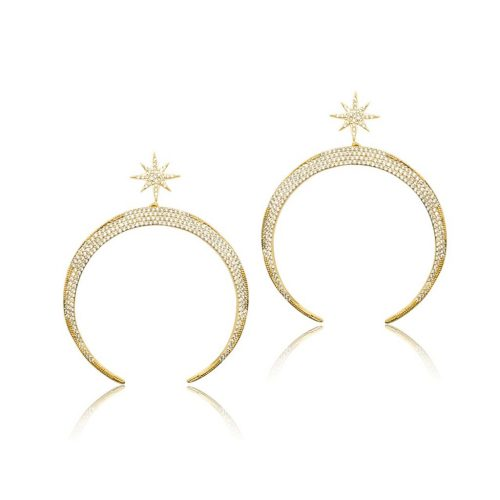 STAR AND MOON EARRING SET WITH CRYSTALEF1803G