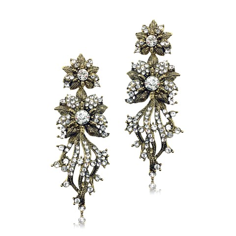 STATEMENT FASHION EARRING WITH CRYSTALS SET INTO ANTIQUE GOLD FLOWER DESIGN EF2023G