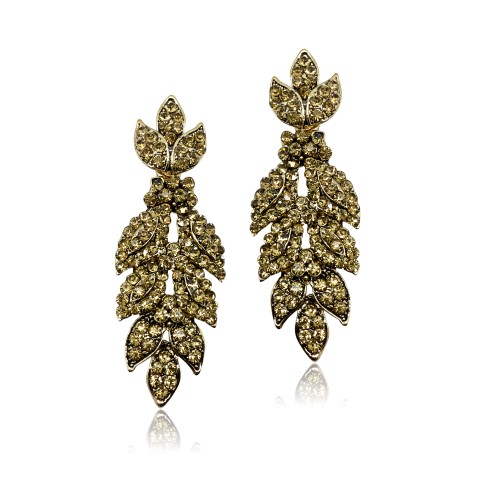 STATEMENT FASHION EARRING WITH CRYSTALS SET INTO ANTIQUE GOLD LEAF DESIGN EF3017C