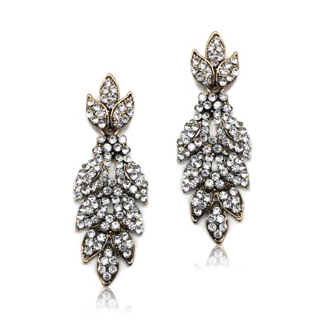 STATEMENT FASHION EARRING WITH CRYSTALS SET INTO ANTIQUE GOLD FLOWER DESIGN EF3017G