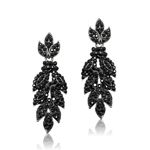 STATEMENT FASHION EARRING WITH CRYSTALS SET INTO ANTIQUE silver LEAF DESIGNEF3017H