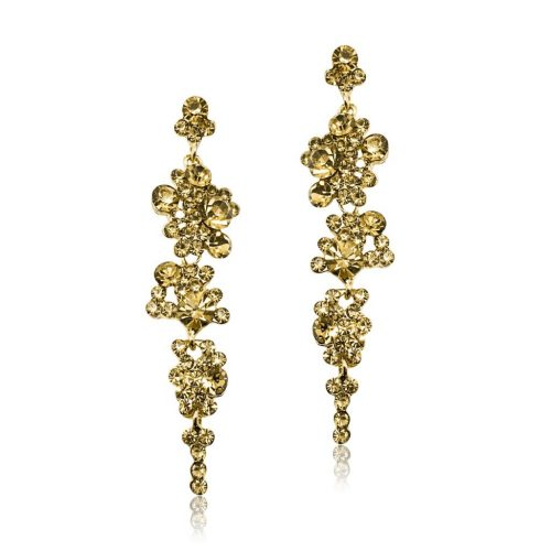 Gold Champagne coloured crystal fashion earring EF3019