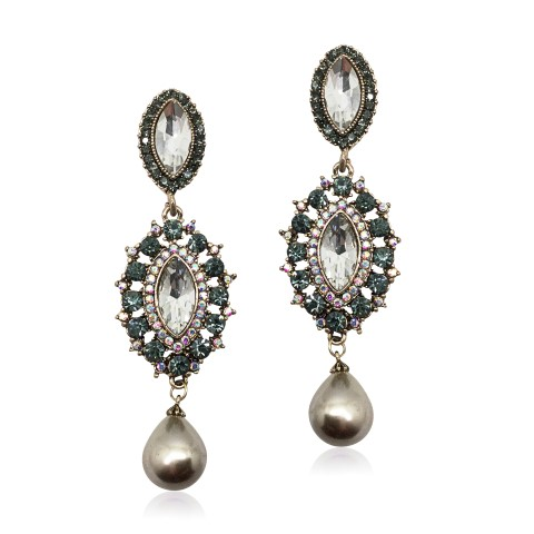 STATEMENT FASHION, BRIDAL EARRING FINISHED IN BRONZE AND NUDE TONES WITH PEARL DROP EARRING EF3021C
