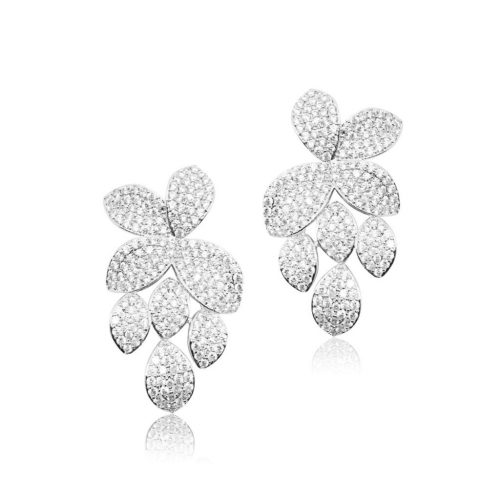 Pavé set bridal earrings in leaf paternEI801