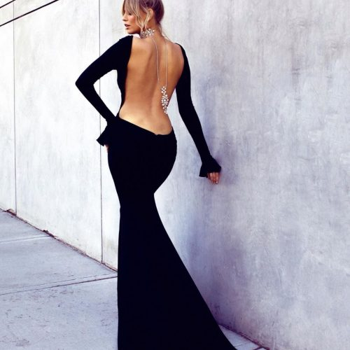 Showcasing a low back choker by Jeanette Maree Melbourne