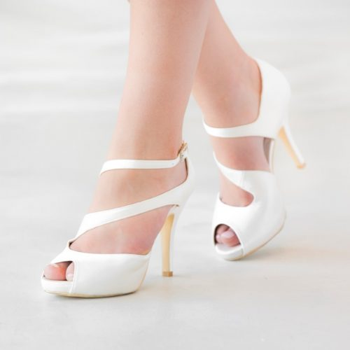 Stylish Satin & Jeanette Maree leather peep toe bridal shoe