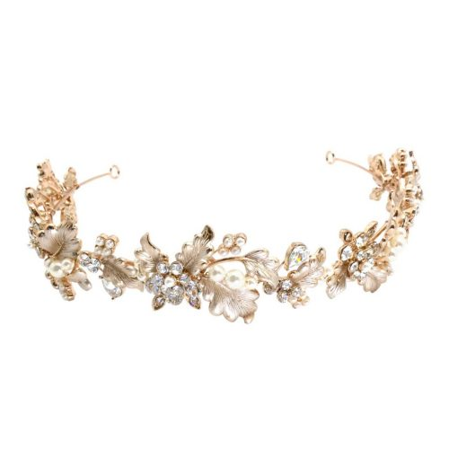 crystal and pearl headband for the bride in rose gold. HB016