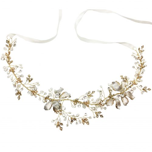 Jeanette Maree classic laced crystal & pearl wedding hairband HB4116G