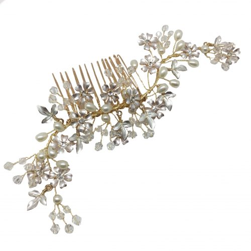 HC1076G bridal headpiece filled with diamante on a gold metal base