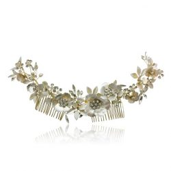 Gold floral hair crown with crystal detail, Gold bridal crown HC2846