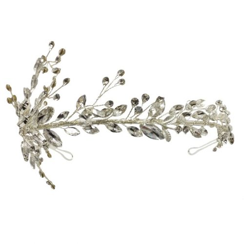 HC5230 headband filled with crystals and set on a silver base