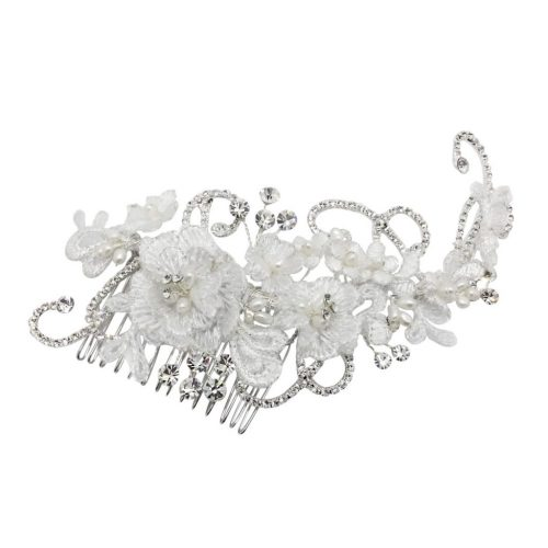lace flower bridal headpiece with diamante and pearl details. HC64981