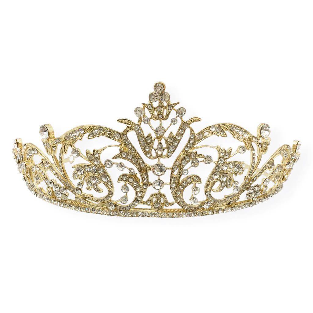HT008G[1] crystal & gold base bridal crown